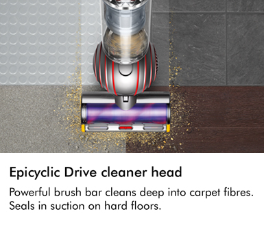 Dyson Epicyclic Drive cleaner head Powerful brush bar cleans deep into carpet fibres Seals in suction on hard floors