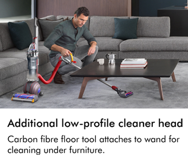 Dyson additional low profile cleaner head carbon fibre floor tool attaches to wand for cleaning under furniture