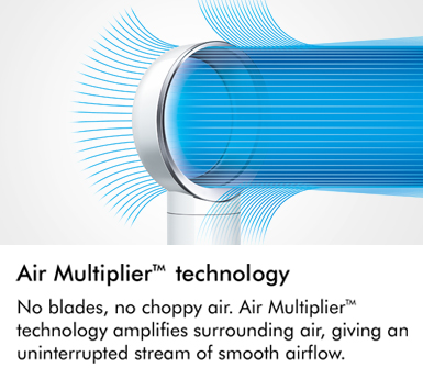 No blades no choppy air Air Multiplier technology amplifies surrounding air giving an uninterrupted stream of smooth airflow