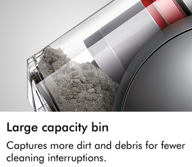 Dyson large capacity bin captures more dirt and debris for fewer cleaning interruptions