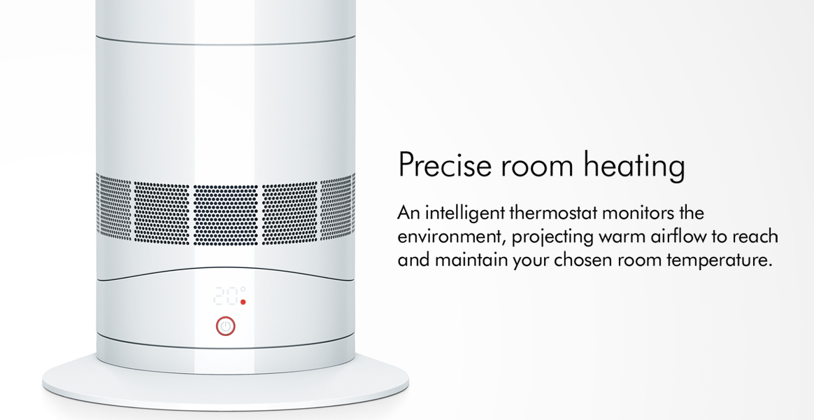 An intelligent thermostat monitors the environment projecting warm airflow to reach and maintain your chosen room temperature