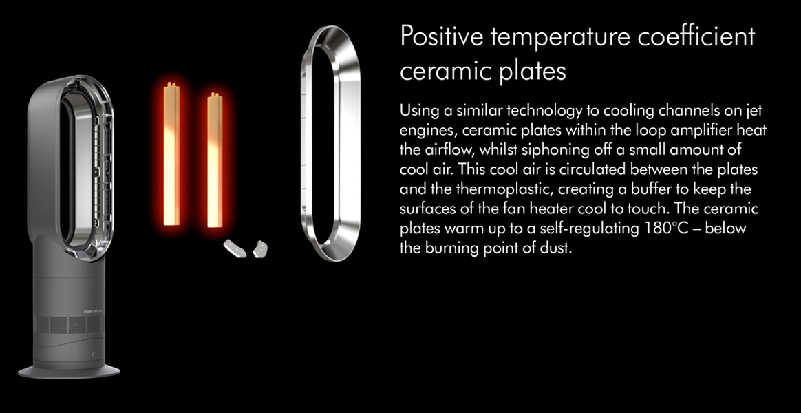 Using a similar technology to cooling channels on jet engines ceramic plates within the loop amplifier heat the airflow whilst siphoning off a small amount of cool air