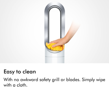 With no awkward safety grill or blades Simply wipe with a cloth