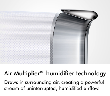 Air multiplier technology draws in surrounding air creating a powerful stream of uninterrupted humidified airflow