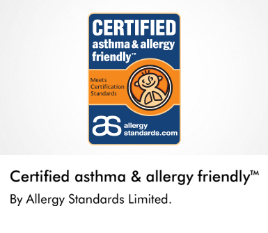 Certified asthma and allergy friendly by Allergy Standards Limited